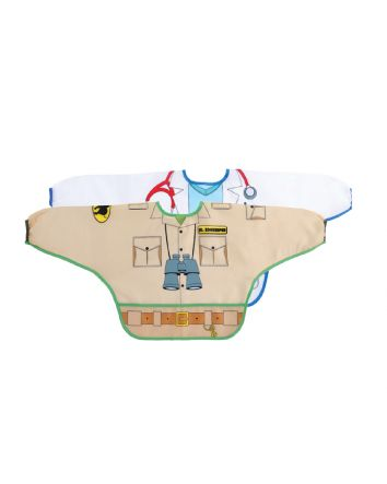 DREAMBABY® CHARACTER BIBS/SMOCKS WITH SLEEVES 2PK ZOOKEEPER/DOCTOR