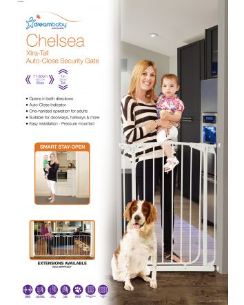CHELSEA XTRA-TALL AUTO-CLOSE GATE SECURITY GATE- WHITE