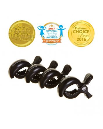 STROLLERBUDDY® STROLLER CLIPS 4 PACK - BLACK